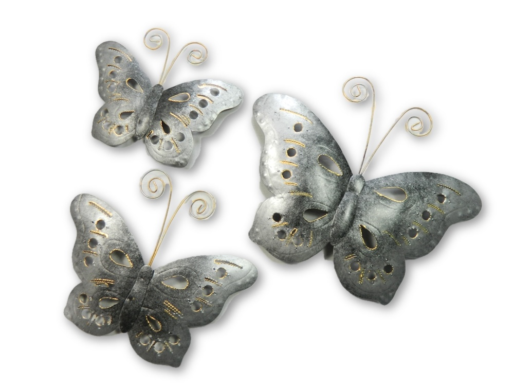 Metal Butterfly Wall Art - Sliver - Set of 3
